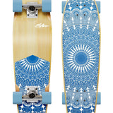 Obfive skateboard with blue mandala print on the top and bottom, blue wheels, silver trunks, suitable for beginners and advanced.