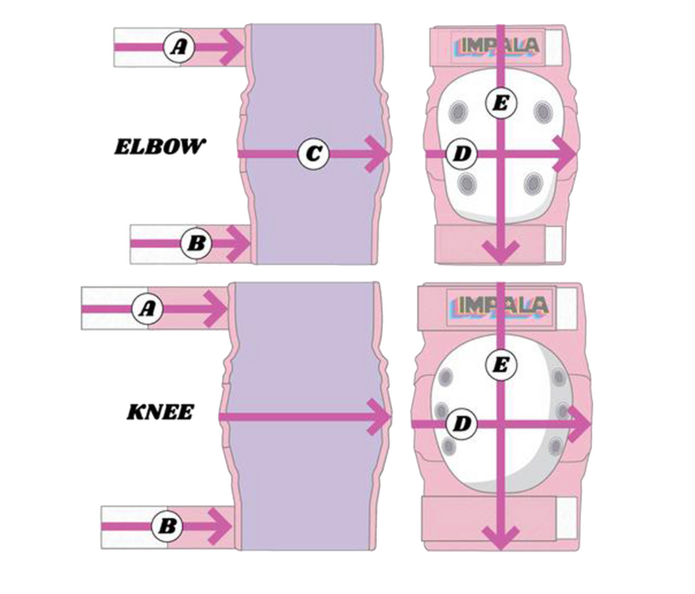 Pink Impala adults protective set including wrist guards, knee pads and elbow pads. Safety Equipment for roller skating and skateboarding. Size Guide.