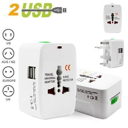 Universal Adapter Worldwide Travel Adapter with Built in Dual USB Charger Ports