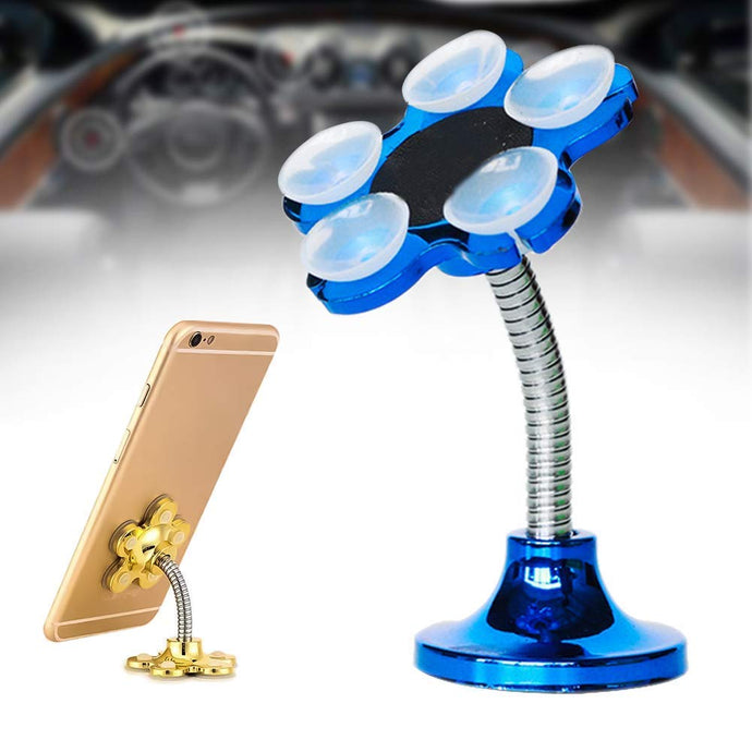 Magic Sucker Mobile Holder Multi-Function Double-Sided Suction Cup Strong Adsorption 360°Rotatable Metal Stand for Car Home Phone Holder 4.7 Inch { Color May Very }