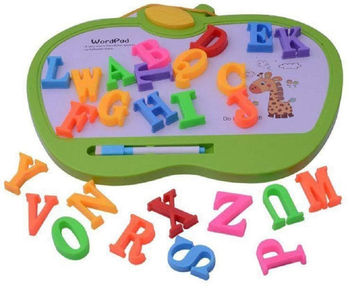 Apple Shape Alphabet Learning Slate with Magnetic Letters and Easy Erasable White Board and Pen ( (Multicolor)