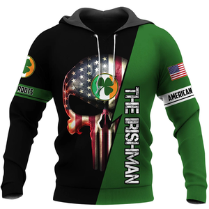 BeKingArt 3D Veteran Irish American The Irishman Skull Clover