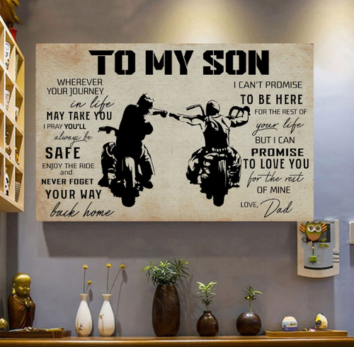 BeKingArt Biker Motorcycle To My Son Wherever Your Journey In Life - Matte Canvas