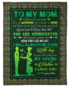 BeKingArt Family Personalized I Know It's Not Easy For A Woman To Raise A Man Son Irish Patricks Day Gifts For Mom Fleece Blanket
