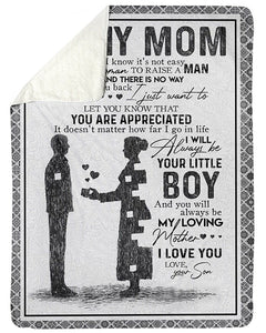 BeKingArt Family Personalized You Will Always Be My Loving Mom Lovely Message From Son Gifts For Mom Fleece Blanket