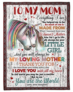 BeKingArt Family Personalized To Me You Are The World Gift For Mom Unicorn Fleece Blanket