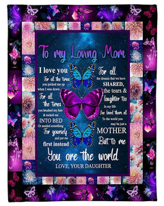 BeKingArt Family Personalized I Love You For All The Time Butterflies To Mom Fleece Blanket