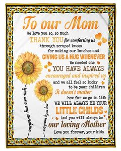 BeKingArt Family Personalized Sunflower Lovely Message Form Kids Gifts For Moms Fleece Blanket