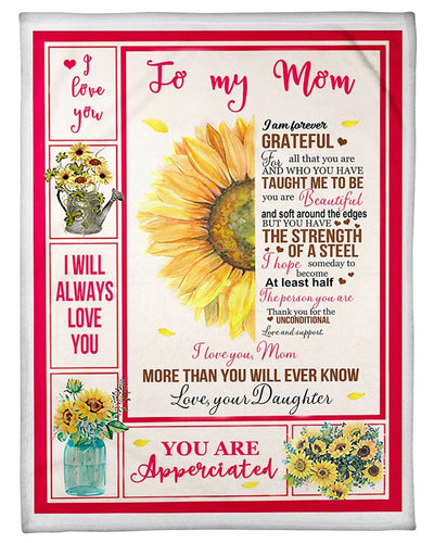 BeKingArt Family Personalized Daughter Gift For Mom With Wonderful Words I'll Always Love You Fleece Blanket