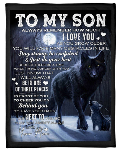 BeKingArt Family Personalized Mom To Son Wolf Remember How Much I Love U Fleece Blanket