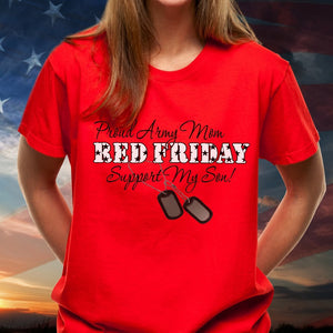 BeKingArt Veteran Red Friday Proud Army Mom Support Son