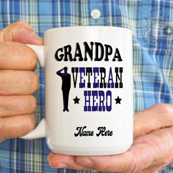 BeKingArt Veteran Personalized Grandpa Veteran Hero