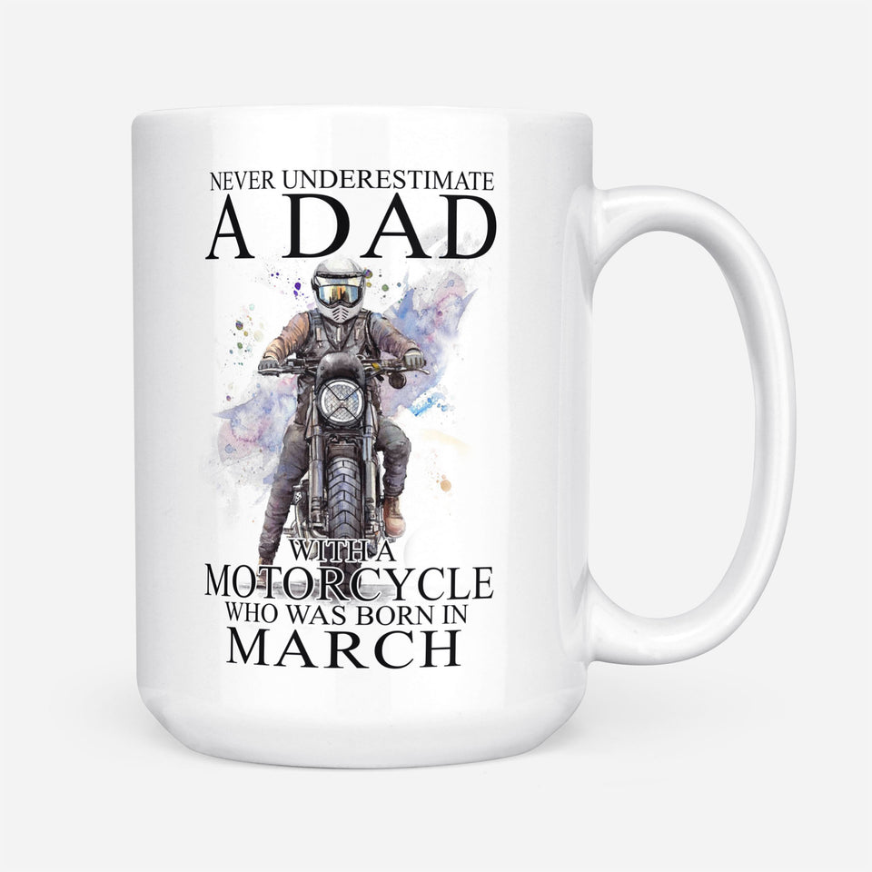 BeKingArt Biker Never Underestimate Dad With A Motorcycle Born In March