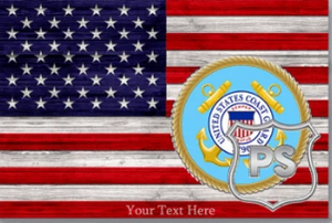 BeKingArt Veteran Personalized USCG Coast Guard American Colored Flag With Military Ranks