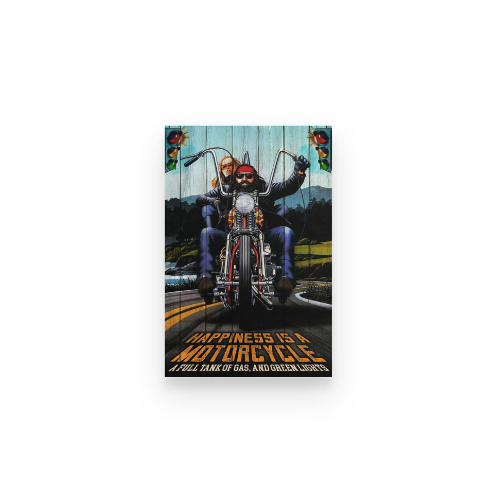 BeKingArt Biker Happiness Be Full Tank Gas And Green Light - Poster