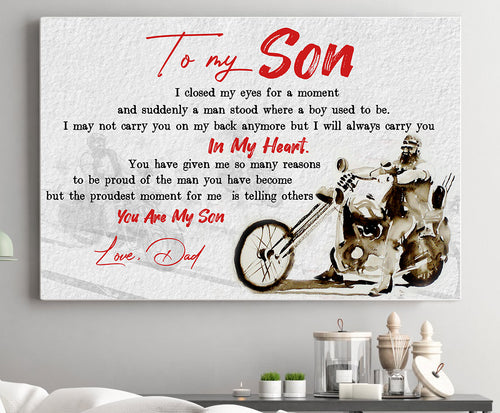 BeKingArt Biker To My Son Closed My Eyes For Moment Always Carry - Poster