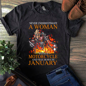 BeKingArt Biker Never Underestimate Woman With Motorcycle Born In January