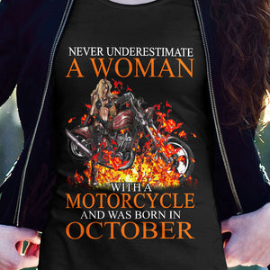 BeKingArt Biker Never Underestimate Woman With Motorcycle Born In October