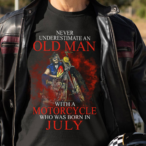BeKingArt Biker Never Underestimate Old Man With Motorcycle Born July