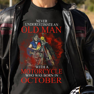 BeKingArt Biker Never Underestimate Old Man With Motorcycle Born October