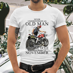 BeKingArt Biker Never Underestimate Old Man With Motorcycle Born In November