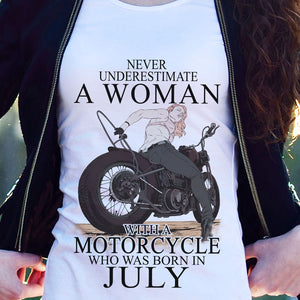 BeKingArt Biker Never Underestimate Woman With Motorcycle Born In July