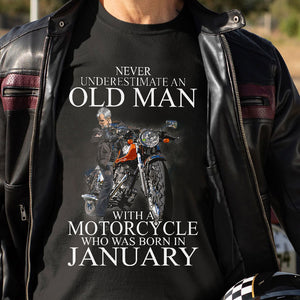 BeKingArt Biker Never Underestimate Old Man With Motorcycle Born In January