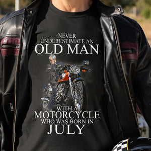 BeKingArt Biker Never Underestimate Old Man With Motorcycle Born In July