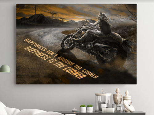 BeKingArt Biker Motorcycle Lover Happiness Be The Corner - Poster