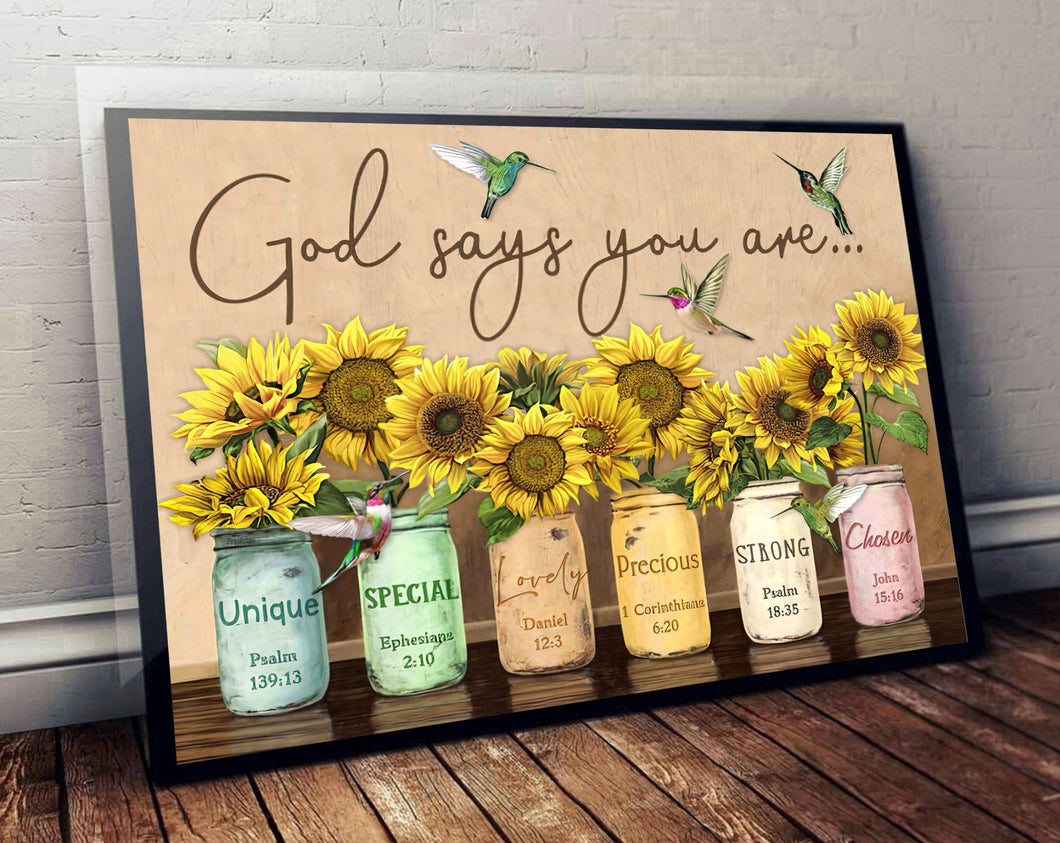 God Says You Are Sunflower Bird Matte Canvas - ATMTEE