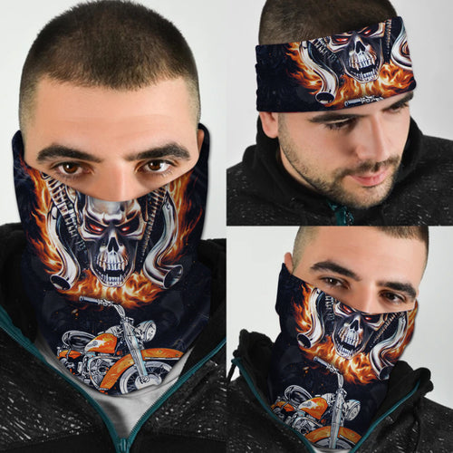 BeKingArt Motorcycle Biker Skull And Motorcycle Cool Bandana