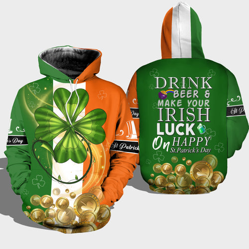 BeKingArt 3D Irish St.Patrick Day Shamrock