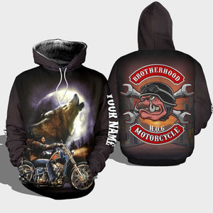 BeKingArt 3D Biker Motorcycle Personalized Brotherhood HOG Wolf