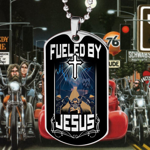 BeKingArt Biker Motorcycle Fueled By Jesus Biker