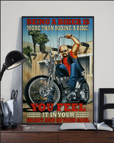 BeKingArt Biker Motorcycle Being A Biker More Than Riding - Poster