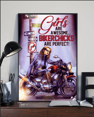 BeKingArt Biker Awesome Girls Awesome Biker Chick Perfect - Poster