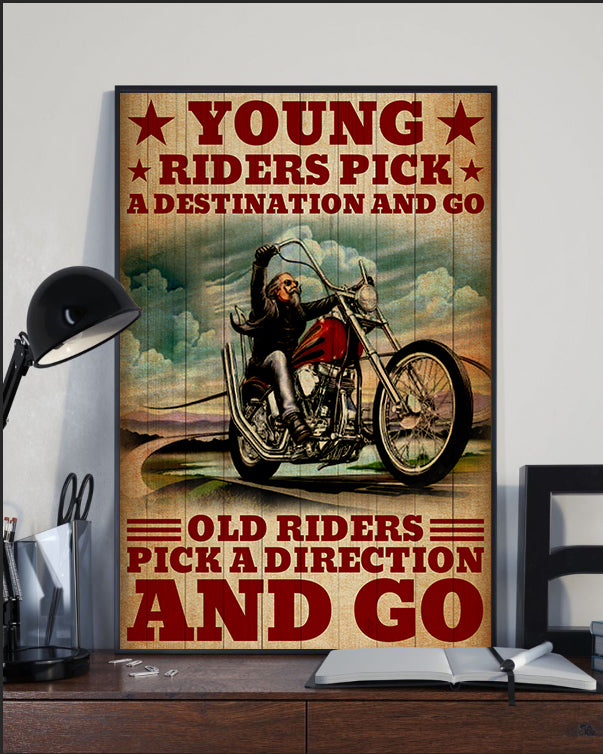 BeKingArt Biker Motorcycle Old Rider Pick Direction And Go - Poster