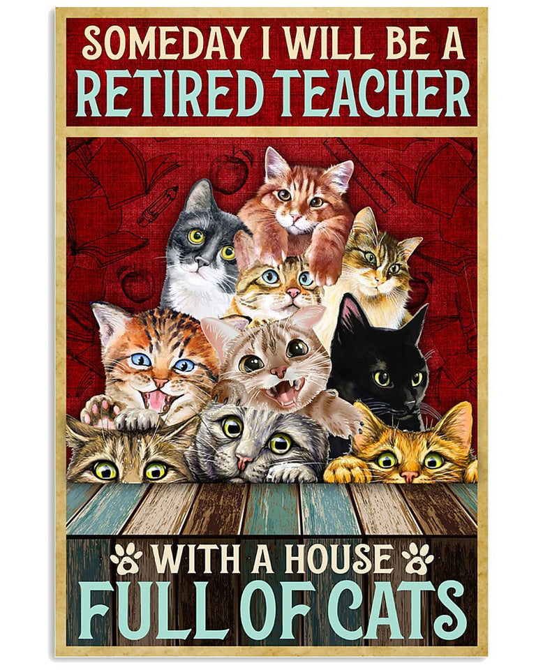 BeKingArt Retired Teacher With A House Full Of Cats Canvas