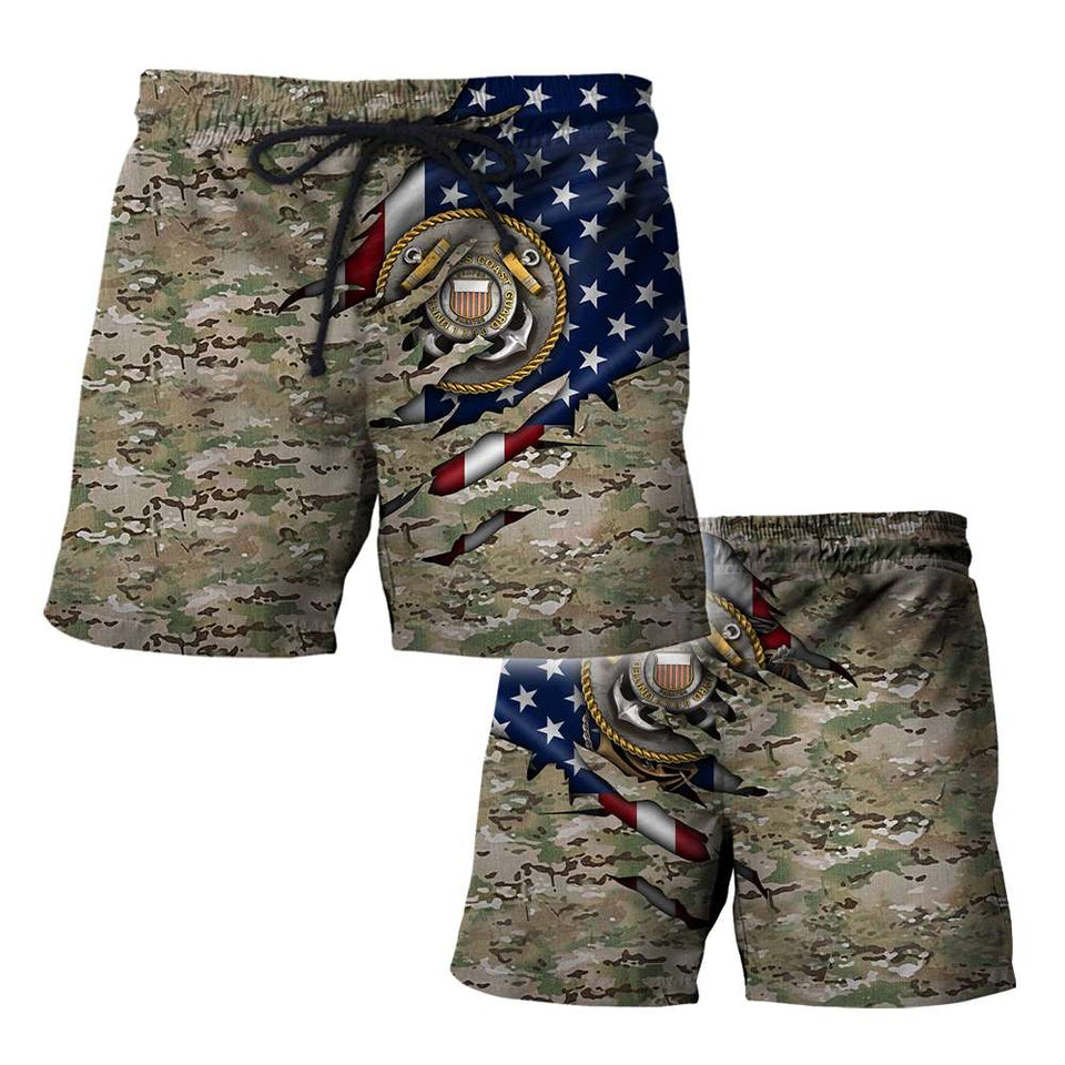 BeKingArt 3D Veteran US Flag Camo Coast Guard