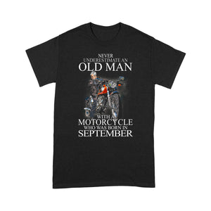 BeKingArt Biker Never Underestimate Old Man With Motorcycle Born In September