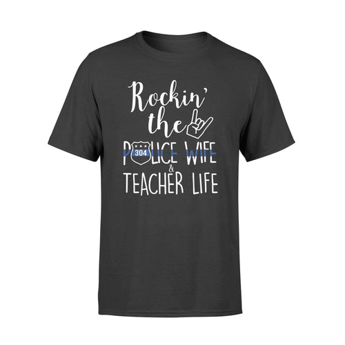 BeKingArt Police Thin Blue Line Rockin Wife Teacher Life Personalized