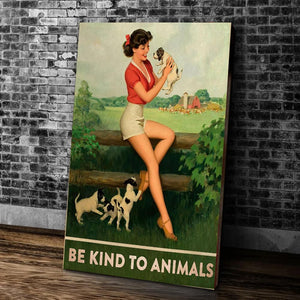 Dog Canvas Be Kind To Animals Matte Canvas - ATMTEE