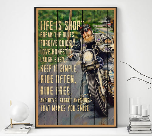 BeKingArt Biker Life Short Break The Rule - Poster