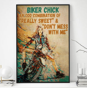 BeKingArt Biker Motorcycle Biker Chick Odd Combination - Poster