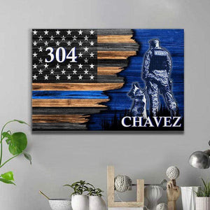 BeKingArt Police Personalized Half Flag K9 Unit Thin Blue Line - Matte Canvas