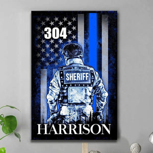 BeKingArt Police Personalized Thin Blue Line Sheriff Suit Name Badge Number - Matte Canvas