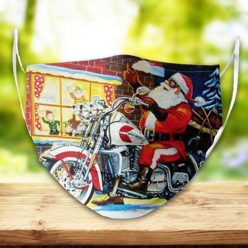 BeKingArt Xmas Biker Motorcycle Funny Santa Riding Bike