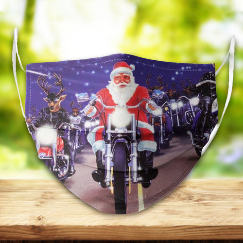 BeKingArt Xmas Biker Funny Santa Riding With Rudolph
