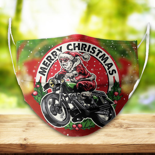 BeKingArt Xmas Biker Funny Santa Claus Riding Bike