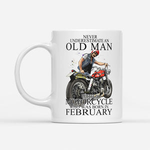 BeKingArt Biker Never Underestimate Old Man With Motorcycle Born In February